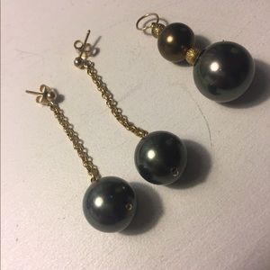 Tahitian pearl look earrings & pendant